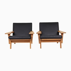 Black Leather Model GE370 Lounge Chair by Hans J. Wegner for Getama, 1970s, Set of 2