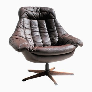 Vintage Brown Leather and Rosewood Lounge Chair by H. W. Klein for Bramin, 1960s