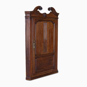 Antique Georgian English Oak Corner Cabinet, 1780s