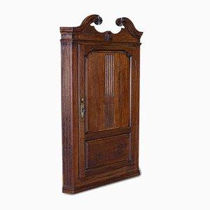 Antique Georgian English Oak Corner Cabinet, 1780s