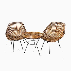 Vintage Italian Wicker Living Room Set, 1950s, Set of 3