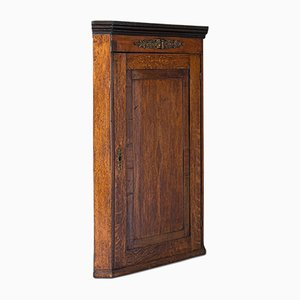 Antique Georgian English Oak and Mahogany Corner Cabinet, 1800s