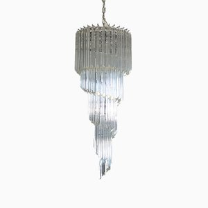 Murano Glass Chandelier with 86 Transparent Quadriedri Prisms, 1983