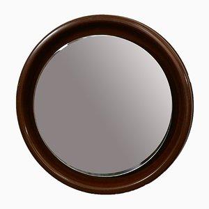Vintage Italian Illuminated Round Mahogany Mirror, 1970s