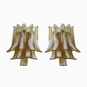 Vintage Italian Murano Glass and Metal Sconces, 1978, Set of 2