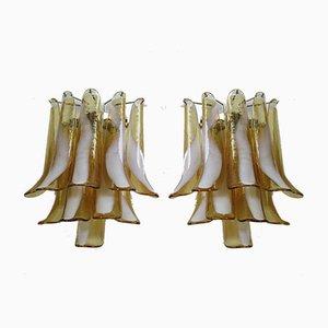 Italienische Vintage Murano Glas und Metall Wandlampen, 1978, 2er Set
