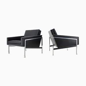 Armlehnstühle aus Stahl & Leder von Wolfgang Herren für Lübke, 1960er, 2er Set
