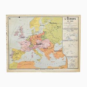 Carta Delagrave Europe vintage 1815, anni '60