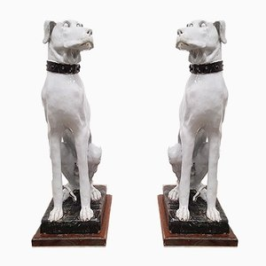 Italian White Painted Ceramic Dog Sculptures, 1900s, Set of 2