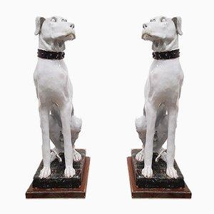 Italienische Hundeskulpturen aus Weiß Bemaltem Keramik, 1900er, 2er Set