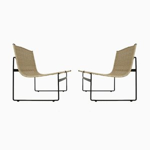 Dutch Rattan Lounge Chairs by Gregorio Vicente Cortes & Luis Onsurbe for Metz and Co, 1960s, Set of 2