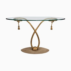 Mid-Century Golden Iron Structure and Oval Original Glass Top Table