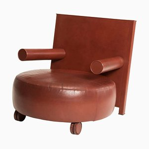 Brown Leather Rounded Armchair by Antonio Citterio for B&B Italia, 1980s