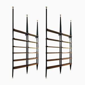 Mahogany Wood Adjustable Shelves with Black Metal Uprights Bookcase, Italy, 1950s