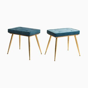 Italian Blue Velvet Brass Stools, 1950s, Set of 2
