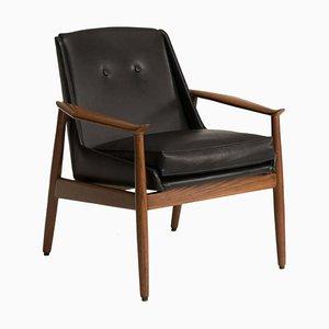 Italian Black Leather Walnut Wood Armchair by Pizzetti, 1950s