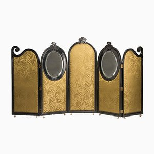 Art Nouveau Black Wood Green Palm Fabric & 5-Panel and Oval Mirrors Screen