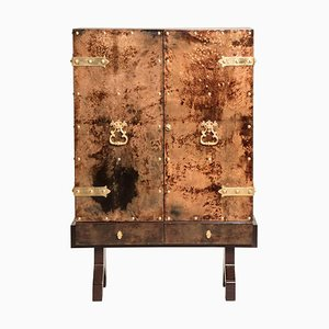 Brown Parchment Brass Hardware Two-Door Dry Bar by Aldo Tura, 1950s