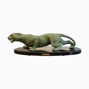 Art Deco Animal Bronze Sculpture Panther by Guy Debe