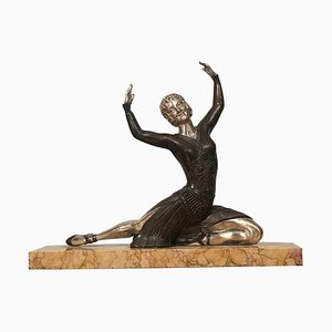 Art Deco Bronze and Silver Dancer Sculpture by H. Molins, France, 1930s