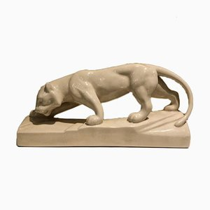 Art Deco White Ceramic Panther Sculpture