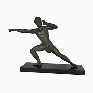 Art Deco Figurative Sculpture of Athlete on Black Marble Base, France, 1930s