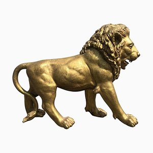 Mid-20th Century Golden Bronze Lion Animal Sculpture, Paris