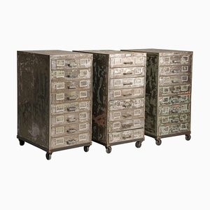 Industrial Brushed Steel Wheeled Filing Cabinets with Drawers