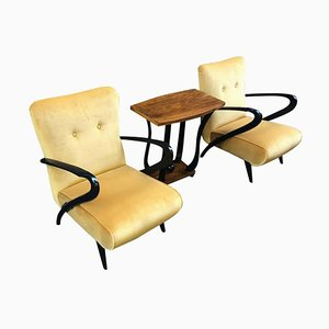 Mid-Century Italian Yellow Velvet Black Wood Armchair