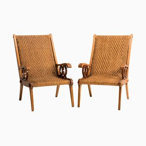 Wood and Woven Wicker Armchairs, Italy, 1950s, Set of 2