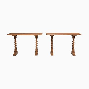 Late 19th Century Italian Walnut Wood Spool Legs Table Consoles, Set of 2
