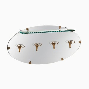Golden Iron Hangers and Glass Shelf Oval Mirror by Pier Luigi Colli, Italy, 1950s