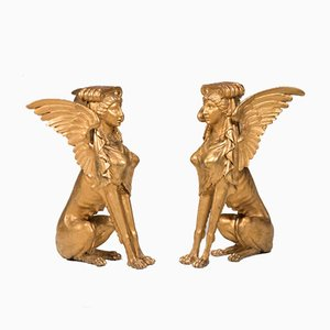 19th Century Italian Empire Gold Foil Wood Sphinx, Set of 2