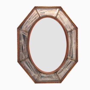 Achteckiger Spiegel mit Holzrahmen, 1930er