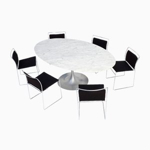 Oval Carrara Marble Dining Table, 1970s