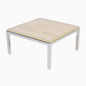 Square Coffee Table with Travertine Top from Reggiani, 1970s