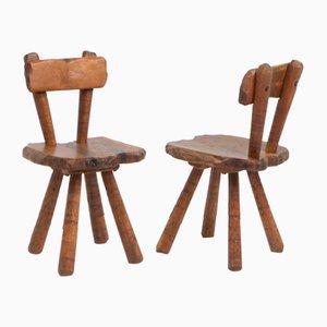 Skulpturale Brutalistische Eichenholz Stühle, 1950er, 2er Set