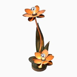 Brutalist Copper Flower Table Lamp, 1970s