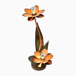 Lampada da tavolo brutalista con fiori in rame, anni '70