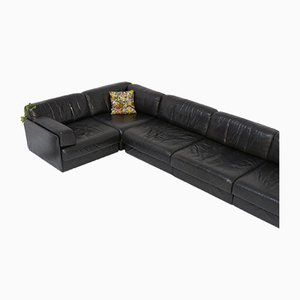 DS 76 Black Leather Modular Sofa Set by de Sede, 1970s
