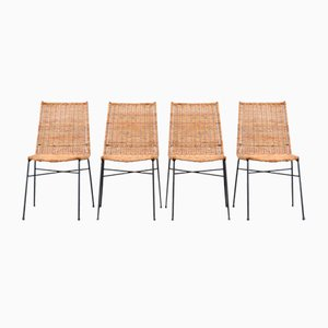 Italian Rattan Dining Chairs, 1950s, Set of 4