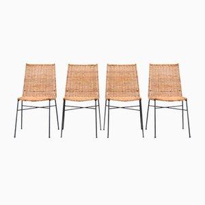 Italienische Rattan Esszimmerstühle, 1950er, Set of 4