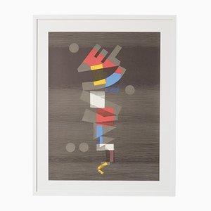 Abstrakte Lithographie in Farbe von Michel Seuphor, 1970er