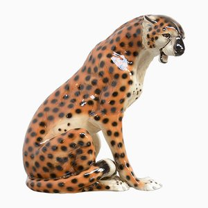 Porcelain Sculpture of a Seating Leopard, 1970s