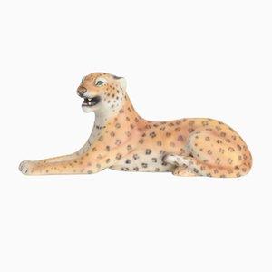 Kleine Porzellan Leoparden Skulptur, Italien, 1950er