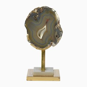 Petite Sculpture en Laiton & Agate Style de Willy Daro, 1970s