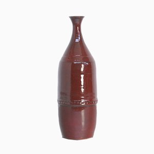 Große Rote Keramikvase von Leon Goossens, 1960er