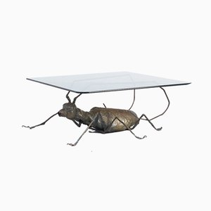 Coffee Table with a Handcrafted Metal Cricket Sculpture Base, 1970s