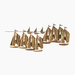 Brass Sailing Boats Wall Sculpture,1970s