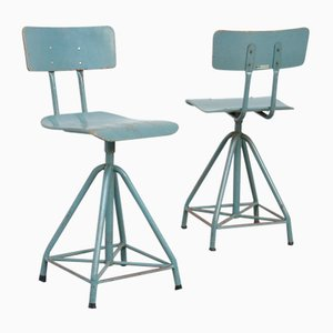 Industrial Blue Gray Drafting Chair, 1970s